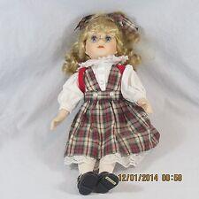 Doll Porcelain school girl plaid jumper red backpack removable eyeglasses blonde
