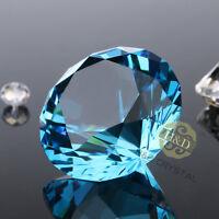 Lake Blue Crystal Diamond Shape Paperweight Glass Gem Display Ornament Gift 40mm
