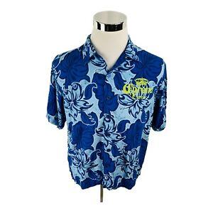 Corona Extra Beer Cerveza Blue Floral Blue Button Front Shirt Men's Large L