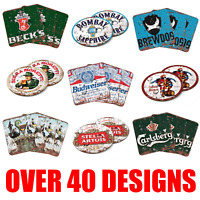 Home Bar Pub Wood Coasters Man Cave Wooden Square Round Coaster Vintage Style UK