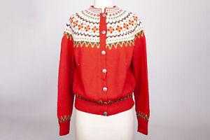 Vintage Sundt Bergen Handstrikket Norway Nordic Ski Sweater Wool Women's S/M