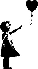 2x BANKSY GIRL WITH BALLOON heart shaped Vinyl wall art room sticker decal
