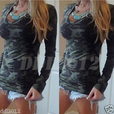 Fashion Womens V-Neck Camouflage Long Sleeve T-Shirt Bodycon Casual Blouse Tops