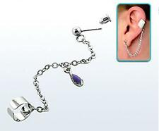 Funky silver stainless steel slave earcuff wrap earring helix with purple gem
