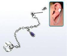 Funky silver stainless steel slave earcuff wrap earring helix with purple gem