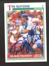 Tim McIntosh Autograph Signed 1991 Score Milwaukee Brewers