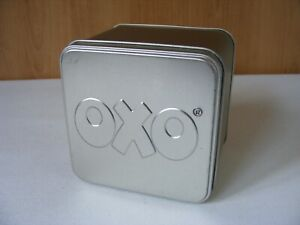 OXO Vintage Silver Embossed Promotional Storage Tin From 1990s