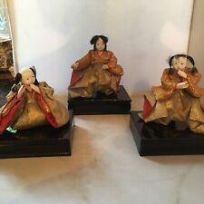 JAPANESE DOLLS-ANTIQUE JAPANESE EARLY HINA DOLLS, SET OF 3
