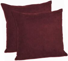 """Lot of 2 Soft Microfiber Accent Throw Pillow Case Covers Solid Wine Color 18"""""""