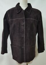 Denim & Co Brown Suede Jacket Button Front 2 Large Pockets Lined