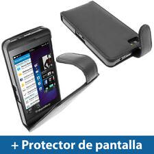 Negro Funda Eco-Piel para BlackBerry Z10 Smartphone Carcasa Case Cover