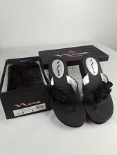Nina Satin Dressy Sandal Flip Flop Thong Beaded Black Luster Platform Wedge Sz 8