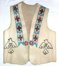 WORN Native American Drawn Eagle Thunderbird Beaded Florets Rawhide Leather Vest