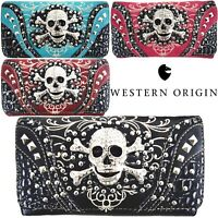 Western Style Sugar Skull Studded Purse Single Shoulder Bags Clutch Women Wallet