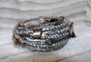 Bracelet Wire Wrap Multi-Strand of Silver SEED BEADS, SHELLS and ABALONE Beads