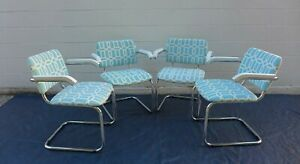 4 Vintage Cesca Arm Chairs Italy Blue Chrome Cantilever Chairs Marcel Breuer