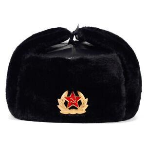 Russia Ushanka Badge Hats Pilot Trapper Hat Fur Earflap Men Snow Ski Winter Cap