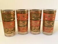 Set of 4 Royal Hickman Mid Century Fox Hunt Green Orange Gold Tumbler Glass