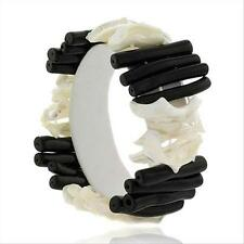 Mother of Pearl Shell & Onyx Stone Chunky Bracelet, 8""