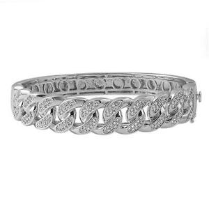 Iced Out Cuban Rhodium CZ Micro Pave Bangle Hip Hop Bling