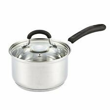 Stainless Steel Cookware 2 Quart Sauce Pan Tempered Glass Lid Stove Top Electric