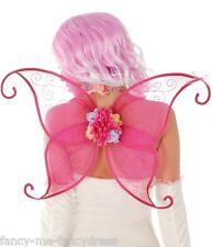 Ladies Pretty Pink Fairy Butterfly Insect Wings Fancy Dress Costume Outfit