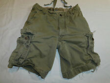 RUEHL CARGO SHORTS DISTRESSED DESTROY HEAVY WEIGHT METAL BUTTONS OLV MEN'S 32-34