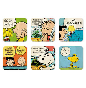 Comics Peanuts Charlie Brown Snoopy Lucy Quotes - Set of 6 - Coasters Drink Mats