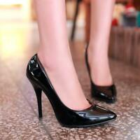 New Womens Patent Leather Pointed TOE High Heel Court Shoes Slip On Pumps 2020
