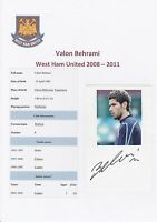 VALON BEHRAMI WEST HAM UTD 2008-2011 ORIGINAL HAND SIGNED CARD WITH MAGAZINE PIC