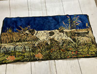 Vintage Velvet Tapestry Bird Dog Pointer Hunting Shack Wall Hanging Rug