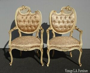Pair Vintage French Provincial Louis XVI Rococo Off White Heart Tufted Chairs