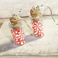 Unique PEPPERMINT PINWHEEL CANDY EARRINGS handmade GLASS JAR  MINIATURE BOTTLE
