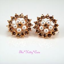 Rose Gold GP Classic Pearl Cluster Stud Clip-on Earrings w/ Swarovski Crystals