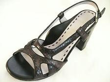 TARYN ROSE Womens Black Snakeskin Leather Strappy Buckle Sandals Heels 6.5