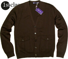 RALPH LAUREN Cárdigan en XL marrón oscuro Púrpura Etiqueta