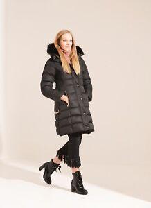 Charcoal Fashion Women's Black Long Length Winter Puffa Coat (03WJ19 TULIP)