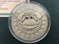 Cancer Zodiac of the Sign  20 Roubles Silver Coin With Crystals Belarus 2009