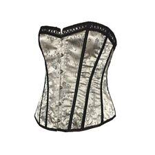 NEW Silver & Black Floral Basque Corset Set Size Medium 10 12 14 Lingerie Top