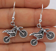 925 Silver Plated Hook- Cool Motorcycle Women Party Hyperbolic Chic Earrings #61