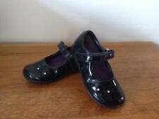 Clarks Girls Black Patent Leather School Shoes Size 7 F Good Condition