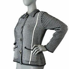 Willow Size: Medium, Black White Cotton Knit Cardigan Sweater Jacket Top Mint