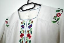 Old vintage folk night dress beads embroidered Romanian traditional woman blouse