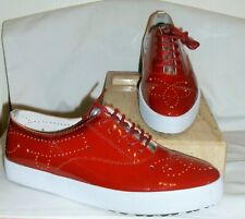BLACKSTONE NL-41 WOMENS RED PATENT LEATHER PERFORATED SNEAKERS~ 38 / 8 US