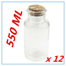 24 x Clear Cork Top Glass Bottles 550ml Kitchen Wedding Birthday Craft Jars Gift
