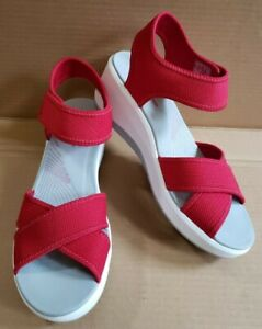 Clarks Cloudsteppers Womans 7.5 M Step Cali Skye Wedge Sport Sandals Red Rough