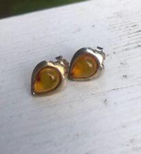 Vintage Baltic Honey Amber Sterling Silver 925 Teardrop Pierced Stud Earrings