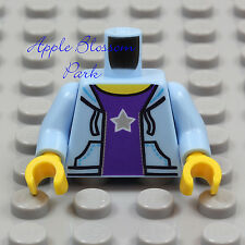 NEW Lego Lite BLUE HOODIE MINIFIG TORSO Girl Boy Purple T Sweat Shirt Pocket Top