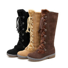 Women's Suede Mid Boots Lace Up Fur Lined Platform Shoes Fashion Round Toe Flats