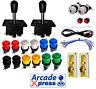 Kit Arcade Joysticks x2 Spanish Negros 14 botones Retropie Usb 2 players Bartop